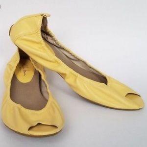 COLE HAAN G Series yellow peep toe leather flats